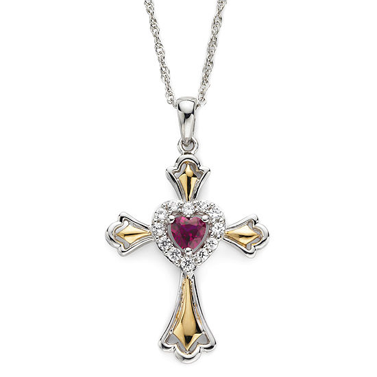 14k gold over silver lab created ruby cross pendant lab created ruby white sapphire two tone cross pendant necklace aloadofball Choice Image