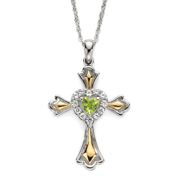 14k gold over silver peridot cross pendant peridot lab created white sapphire two tone cross pendant necklace mozeypictures Image collections