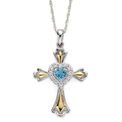 Swiss Blue Topaz & Lab-Created White Sapphire Two-Tone Cross Pendant Necklace
