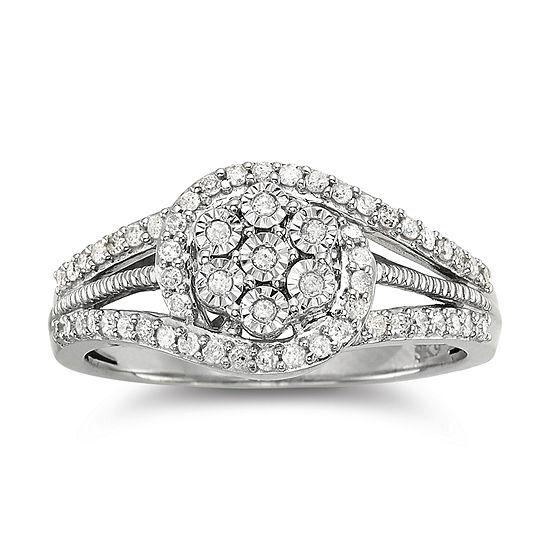 diamond blossom 1/3 CT. T.W. Diamond Cluster Sterling Silver Orbit Ring