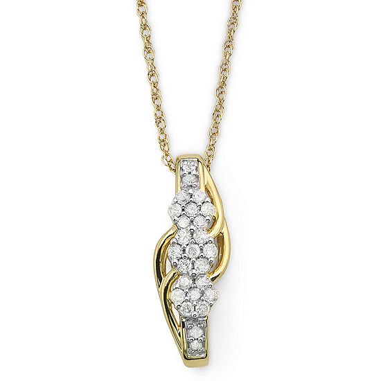 Diamond Blossom 1 4 Ct Tw Diamond Cluster Pendant Necklace