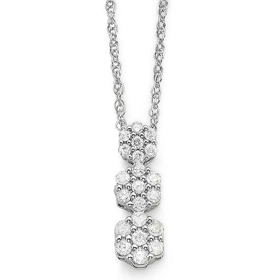 diamond blossom 1/4 CT. T.W. Diamond Cluster Pendant Necklace