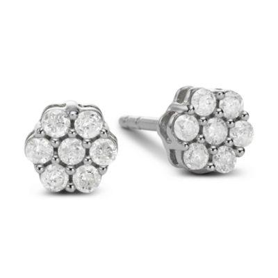 diamond blossom 3/4 CT. T.W. Diamond 10K White Gold Stud Earrings