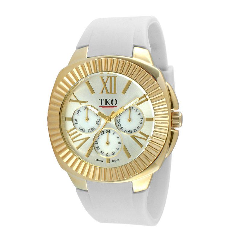 TKO ORLOGI Womens White Silicone Strap Sport Watch
