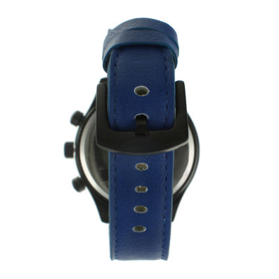 TKO ORLOGI Mens Blue Leather Strap Multifunction-Look Watch