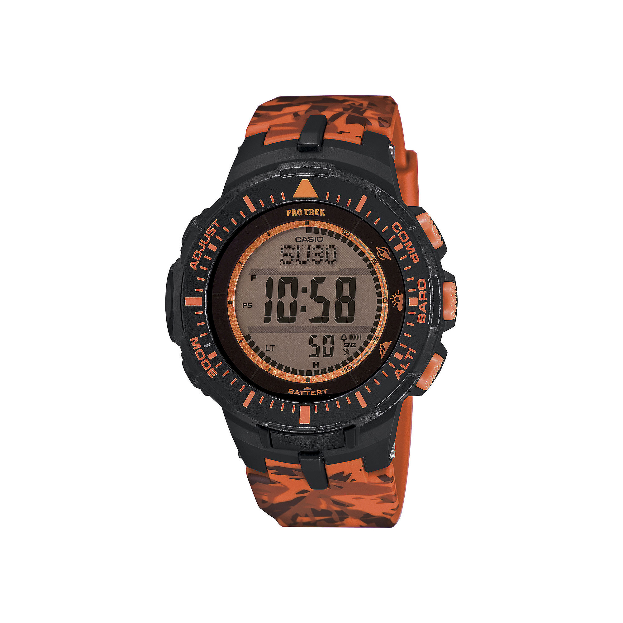Casio Pro Trek Tough Solar Triple Sensor Mens Orange Camo Sport Watch PRG300CM-4