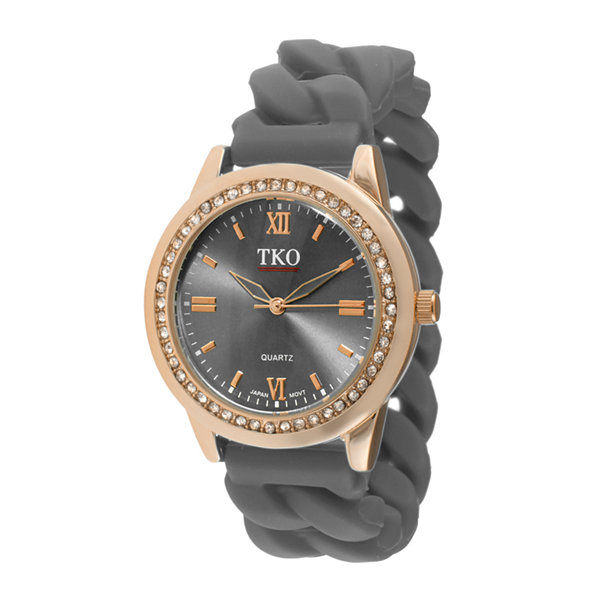 TKO ORLOGI Womens Crystal-Accent Chain-Link Gray Silicone Strap Stretch Watch