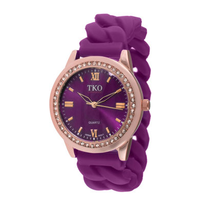 TKO ORLOGI Womens Crystal-Accent Chain-Link Purple Strap Silicone Stretch Watch