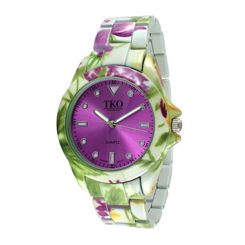 TKO ORLOGI Womens Green Floral Print Bracelet Watch
