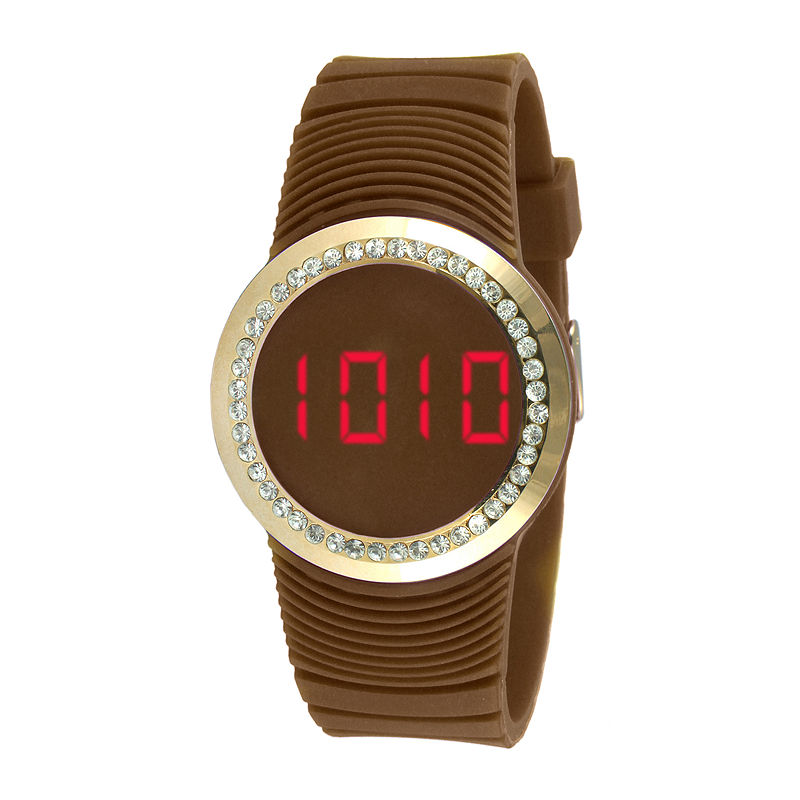 TKO ORLOGI Womens Crystal-Accent Brown Silicone Strap Touch Digital Sport Watch