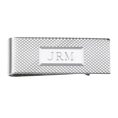 Personalized Grid Pattern Money Clip