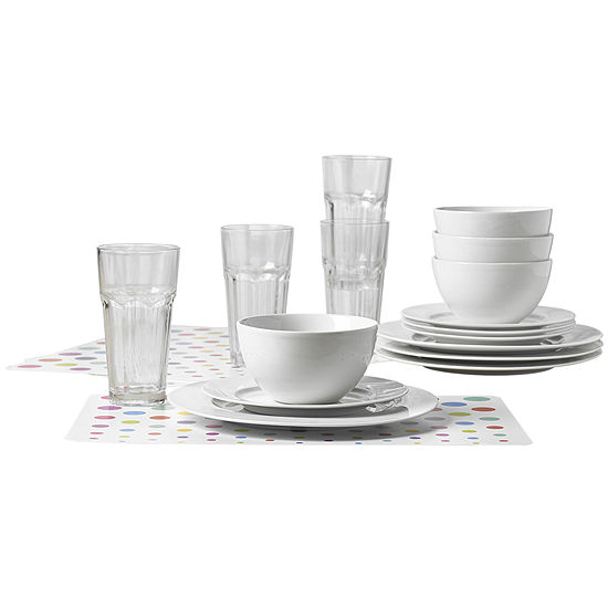 Tabletops Unlimited® Gallery 20-pc. White Dinnerware Set with Plastic Placemats