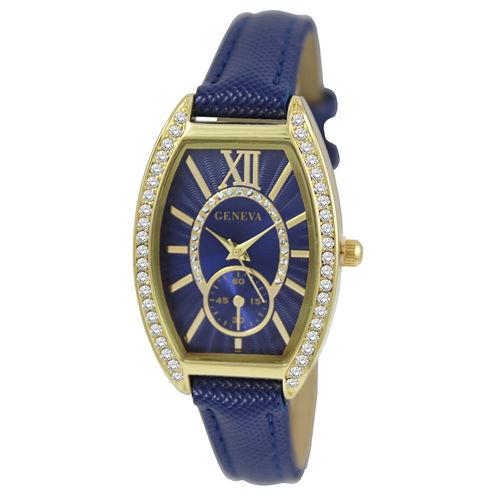 Geneva Womens Gold-Tone Blue Strap Watch