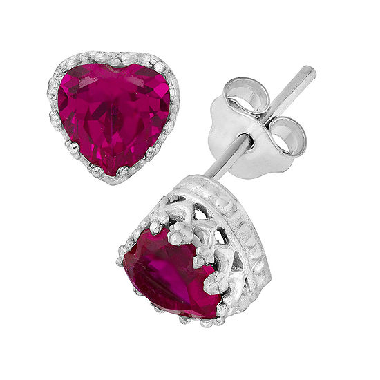 Lab-Created Ruby Sterling Silver Earrings