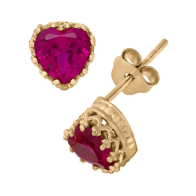Lab-Created Ruby 14K Gold Over Silver Earrings