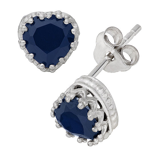 Lab Created Blue Sapphire Sterling Silver Earrings