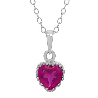 Lab-Created Ruby Sterling Silver Pendant Necklace