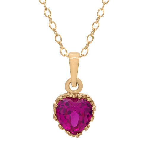 Lab-Created Ruby 14K Gold Over Silver Pendant Necklace