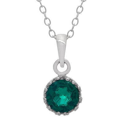 Lab-Created Emerald Sterling Silver Pendant