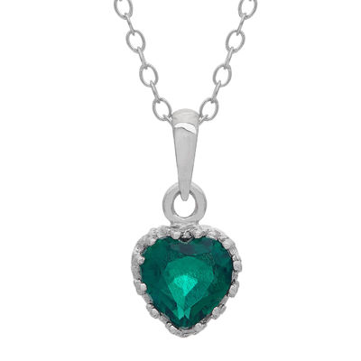 Lab-Created Emerald Sterling Silver Pendant Necklace