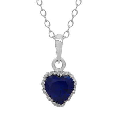 Lab-Created Blue Sapphire Sterling Silver Pendant Necklace