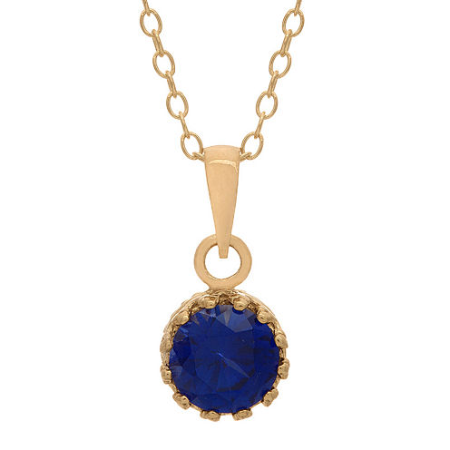 Lab-Created Blue Sapphire 14K Gold Over Silver Pendant Necklace