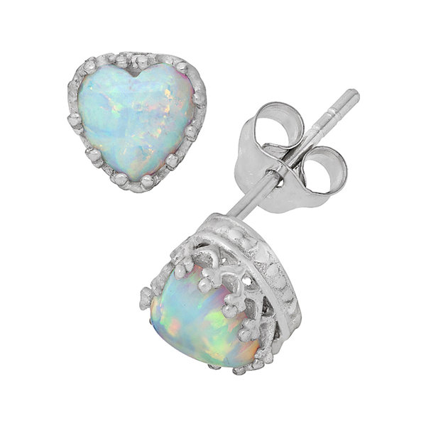 Simulated Opal Sterling Silver Earrings
