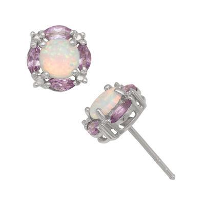 Simulated Opal & Genuine Amethyst Sterling Silver Earrings