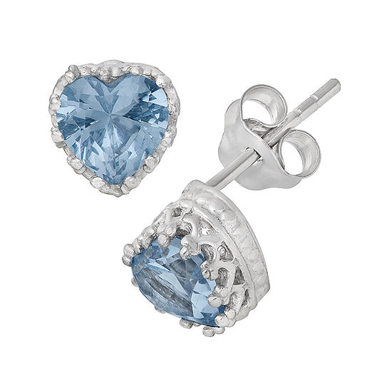 Lab-Created Aquamarine Sterling Silver Earrings