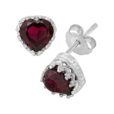 Genuine Garnet Sterling Silver Earrings