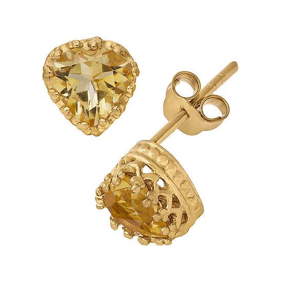 Genuine Citrine 14K Gold Over Silver Earrings