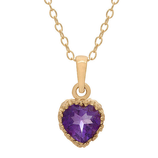 Genuine Amethyst 14K Gold Over Silver Pendant Necklace