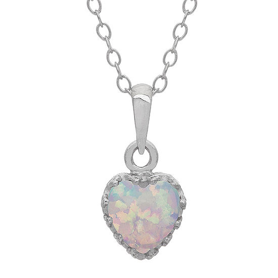 Simulated Opal Sterling Silver Pendant Necklace