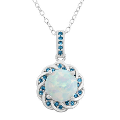 Simulated Opal & Genuine London Blue Topaz Sterling Silver Pendant Necklace