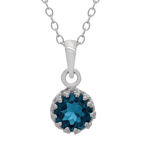 Genuine London Blue Topaz Sterling Silver Pendant Necklace