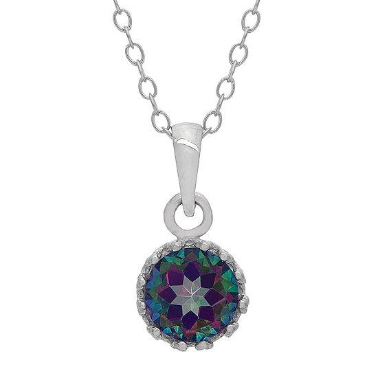 Genuine Mystic Green Topaz Sterling Silver Pendant Necklace