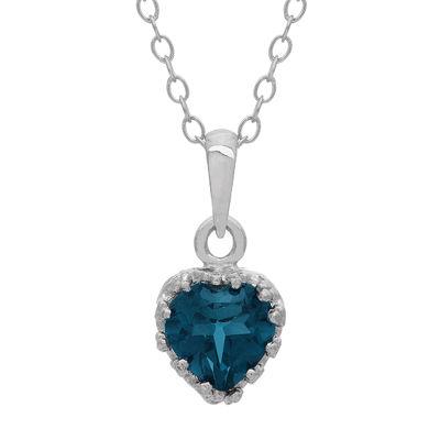 Genuine London Blue Topaz Sterling Silver Pendant