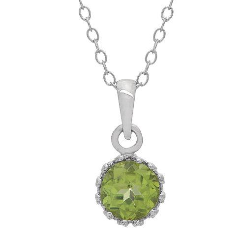 Genuine Peridot Sterling Silver Pendant Necklace