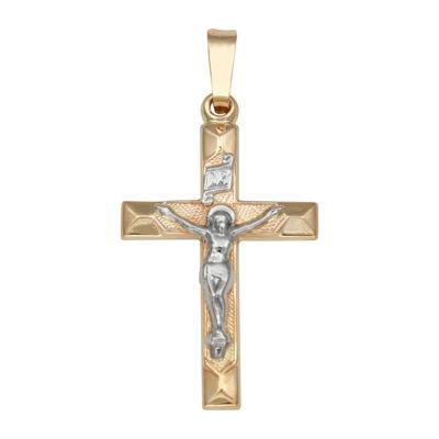 14K Two-Tone Gold Crucifix Charm Pendant