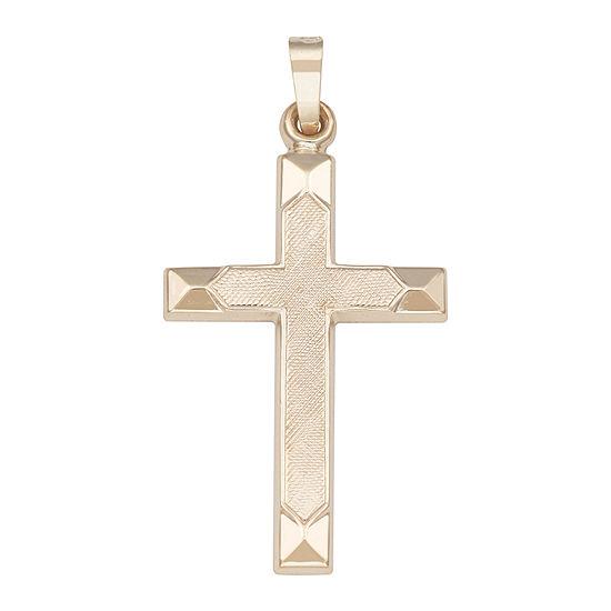 Religious Jewelry 14k Yellow Gold Polished Beveled-Edge Cross Charm Pendant