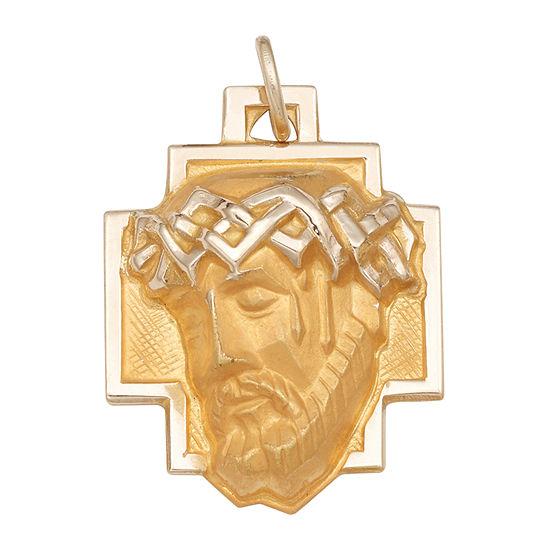 Religious Jewelry 14K Yellow Gold Christ Head Greek Cross Charm Pendant