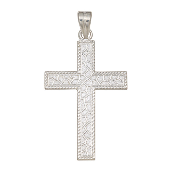 Sterling Silver Textured Cross Charm Pendant