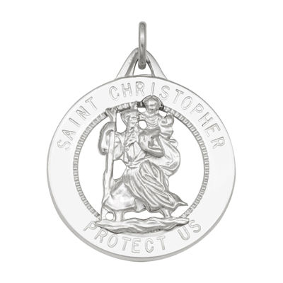 Sterling Silver Round Saint Christopher Medal Charm Pendant