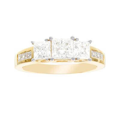 Diamonart® 10K Yellow Gold Cubic Zirconia 2.66 C.T. T.W. 3 Stone Princess Ring