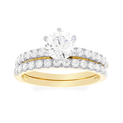 DiamonArt® Cubic Zirconia 2 1/3 CT. T.W. 10K Yellow Gold Bridal Ring Set