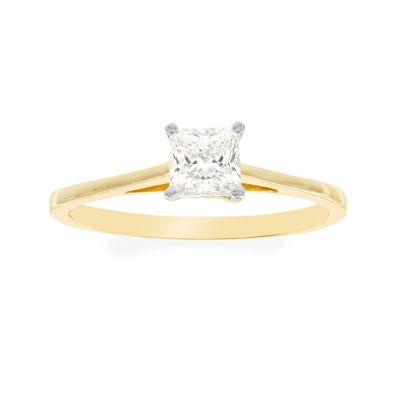 Diamonart® 10K Yellow Gold Cubic Zirconia .85 C.T. T.W.. Princess Solitaire Ring