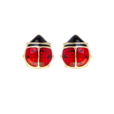 Children's 14K Gold Enamel Ladybug Stud Earrings