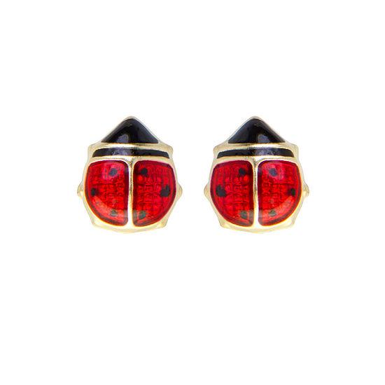 Children's 14K Gold Enamel Ladybug Stud Earrings