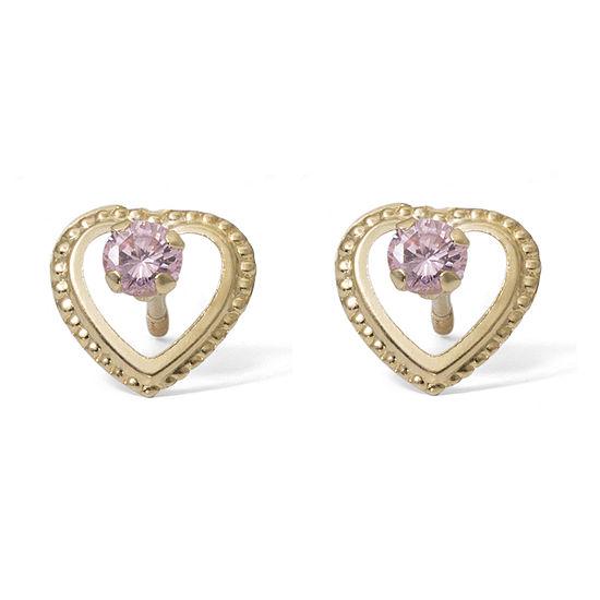 Pink Cubic Zirconia 14K Gold 7.6mm Stud Earrings