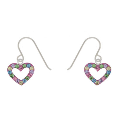 Round Multi Color Crystal Heart Earrings